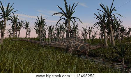dicraeosaurus in prehistoric landscape