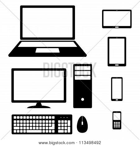 Device Icons: smartphone, tablet,  laptop, desktop computer, phone, keyboard and mouse