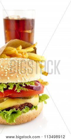 Cropped Image Of Cheeseburger, French Fries,glass Of Cola Isolat