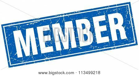 Member Blue Square Grunge Stamp On White