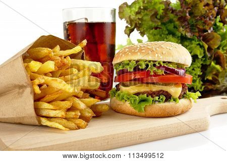 Cropped Image Of Cheeseburger,french Fries,glass Of Cola On Wood