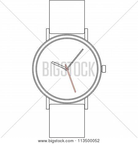 Black line wristwatch on white background isolated