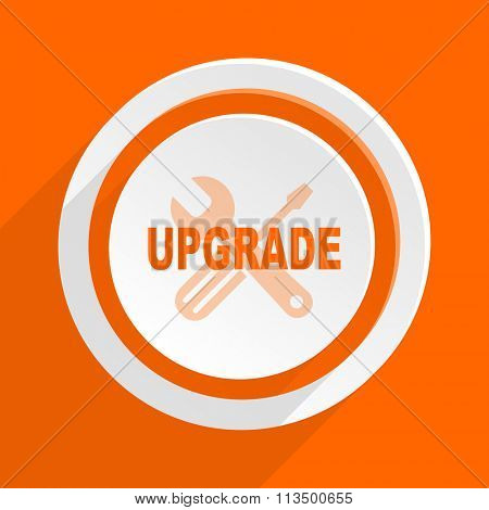 upgrade orange flat design modern icon for web and mobile app