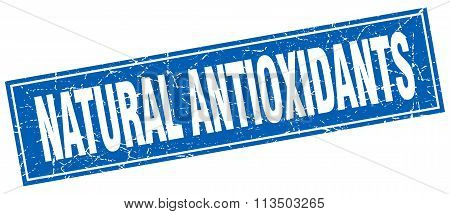 Natural Antioxidants Blue Square Grunge Stamp On White
