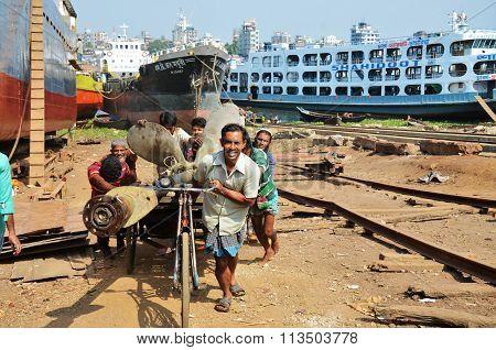 Dockyard in Dhaka, Bangladesh