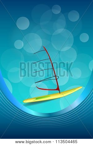 Background abstract sea sport holidays design red green windsurfing blue frame vertical ribbon