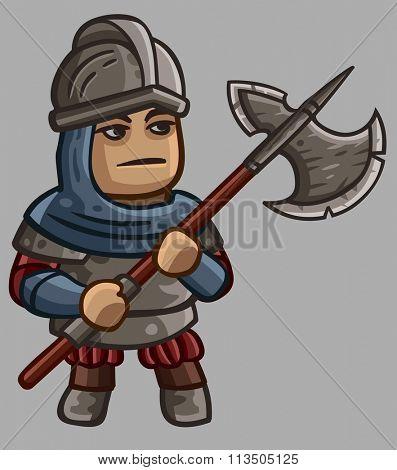 Medieval game character Halberdier. Vector illustration