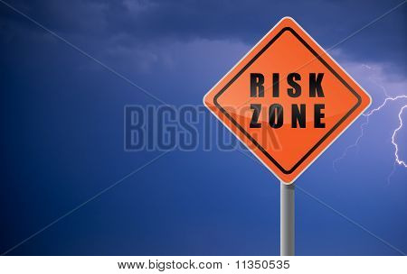 Traffic Sign Risk Zone Clouds Lightning Sky Background.