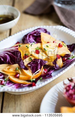 Persimmon With Radicchio And Pomegranate Salad