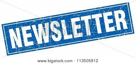 Newsletter Blue Square Grunge Stamp On White