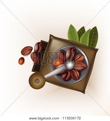 Coffee grinder vintage design and coffee beans