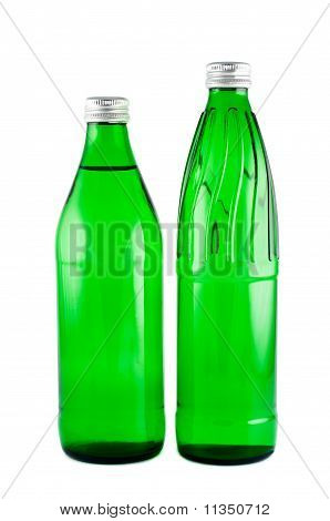 Bottles With Mineral Water  Isolated On White Background Clipping Path.
