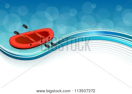 Background abstract blue rafting boat red sport frame illustration vector