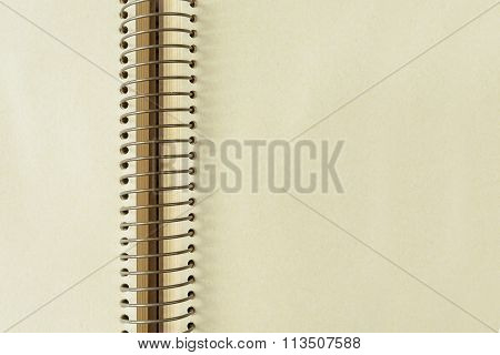 Brown Blank Notebook With Spiral And Copy Space