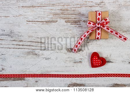 Wrapped Gift, Red Heart With Ribbon For Valentines Day, Copy Space For Text