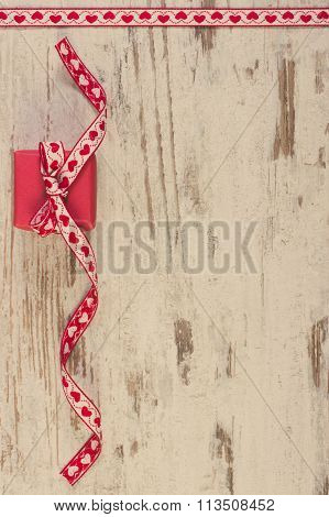 Vintage Photo, Wrapped Gift With Red Ribbon For Valentines Day, Copy Space For Text