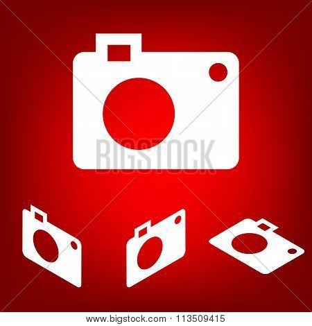 Digital camera icon set. Isometric effect