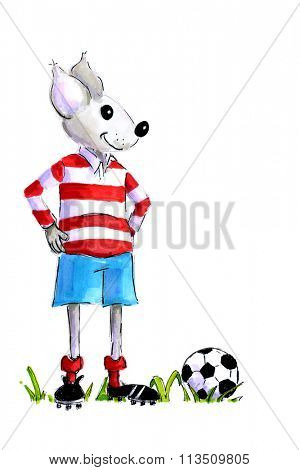 Handddrawn illustration of soccoer mouse with ball isolated over white background