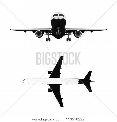 Large passenger airplane isolated on white background