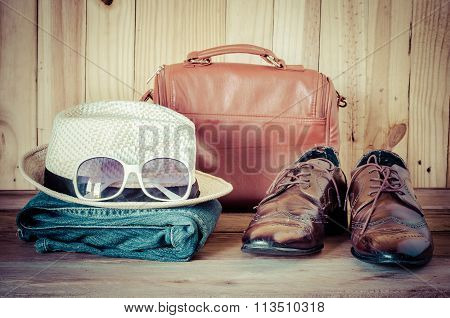 Travel,accessories, Jeans, Hats,shoes,sunglass, Ready For The Trip On Wooden Backgrond