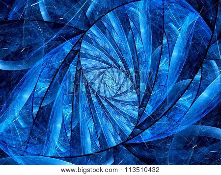 Blue Glowing Stained-glass Fractal
