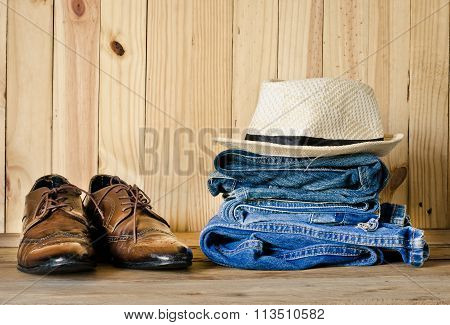 Travel,accessories, Jeans, Hats, Shoes, Ready For The Trip On Wooden Backgrond
