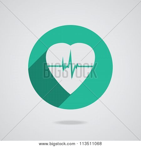 Defibrillator Heart Icon Isolated On Teal Background.