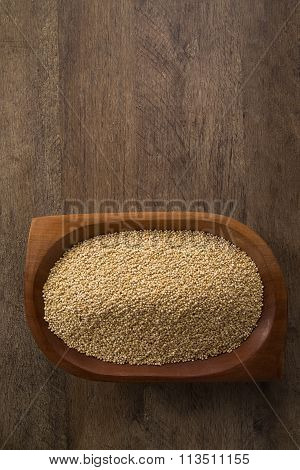 Portion Of Uncooked Quinoa And Wey Protein