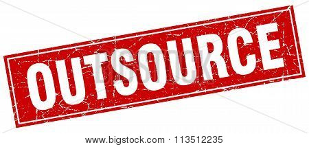 Outsource Red Square Grunge Stamp On White