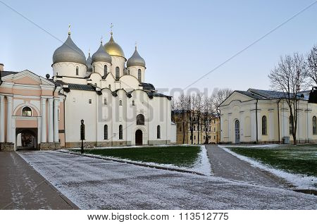 St Sophia Cathedral In Veliky Novgorod, Russia - Evening Landscape