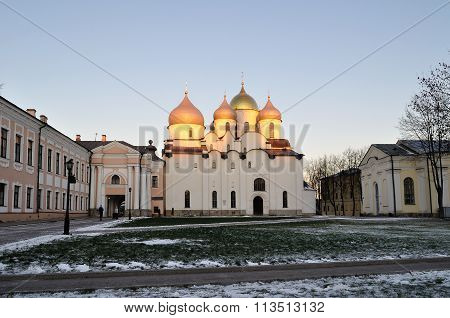 St Sophia Cathedral In Veliky Novgorod, Russia -  Sunset Landscape