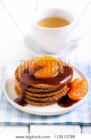 Caramel Waffles With Caramel Topping