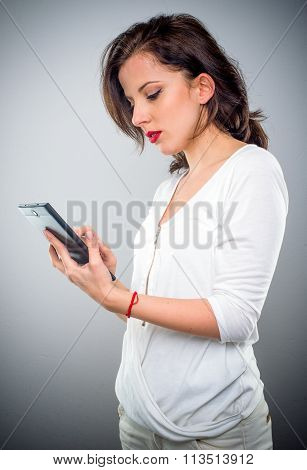 Attractive Woman Checking Her Mobile Phone