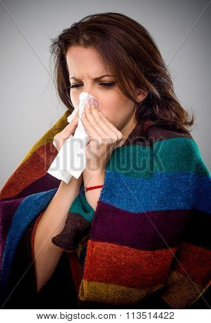 Sick Woman With A Winter Cold
