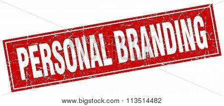 Personal Branding Red Square Grunge Stamp On White