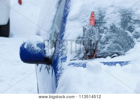 Brush For Cleaning Car From Snow On Windscreen