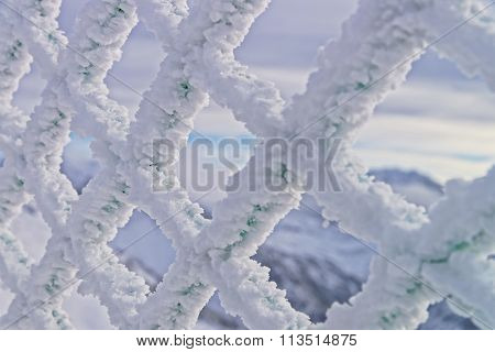 Fencing Mesh Being Frozen In Mountains In The Winter Time