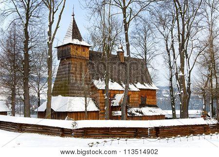 Old Wooden Church In Debno, Poland, In Winter