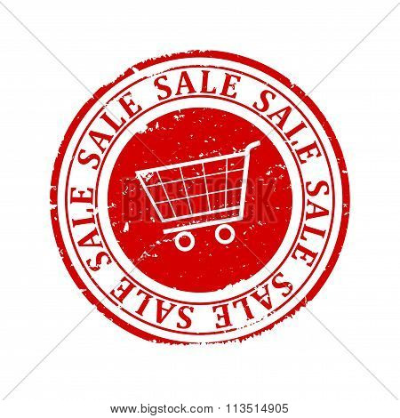 Damaged Round Seal With A Shopping Cart And An Inscription - Sale - Illustration