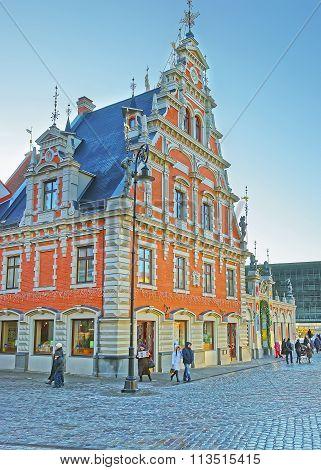 RIGA LATVIA - DECEMBER 25 2011: House of Blackheads in the Old city of Riga in Latvia