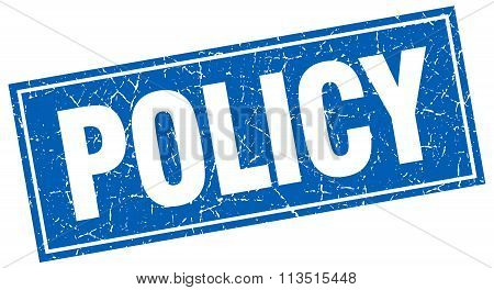 Policy Blue Square Grunge Stamp On White