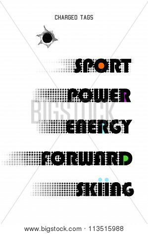 charged tags vector words