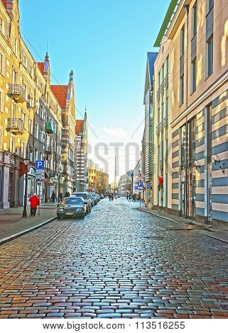 RIGA LATVIA - DECEMBER 25 2011: Street view in the Old city of Riga in Latvia at Christmas