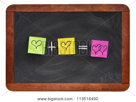 love or romantic relationship concept presented as mathematical equation with hearts, colorful sticky notes on vintage blackboard isolated on white