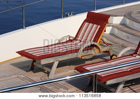 Empty Sunbed With  On A Beautiful  Yacht