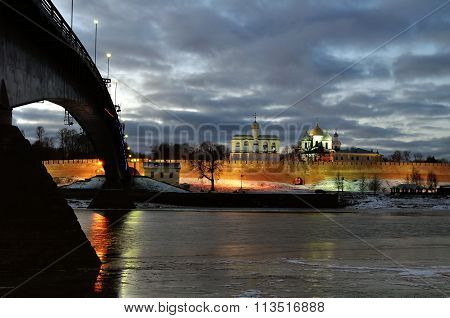 Panorama Of Novgorod Kremlin And Saint Sophia Cathedral In Veliky Novgorod, Russia - Night Landscape