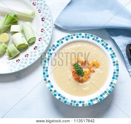 Cream Of Leek Soup With Shrimp Curry