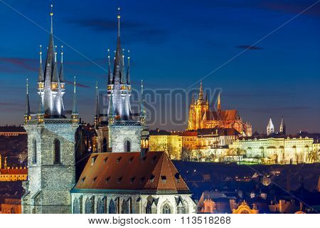 Aerial view over Old Town, Prague, Czech Republic