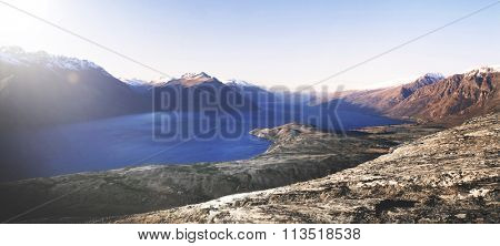 Marvelous view of lake Wakitipu and the mountain range.