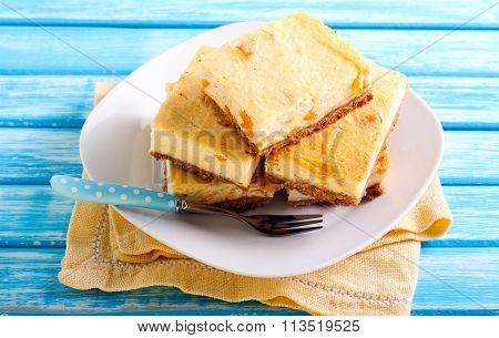 Citrus Cheesecake Slices On Plate,